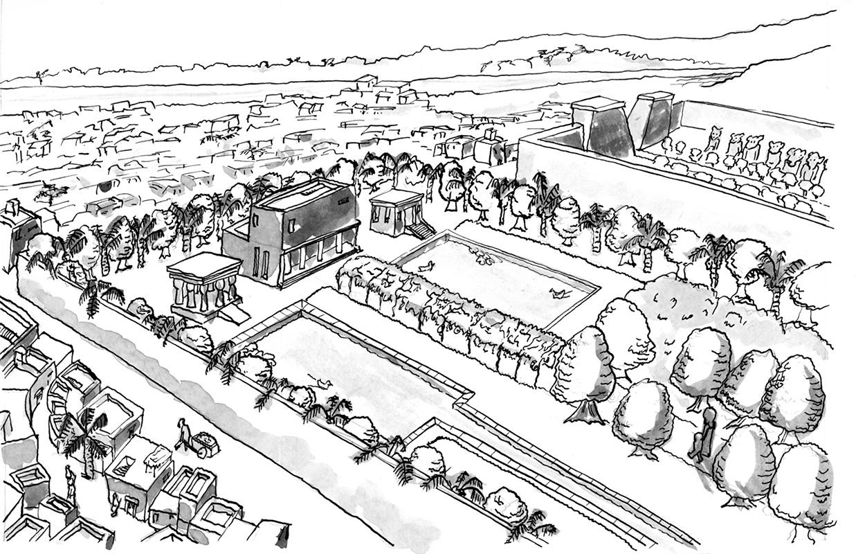 Eine Zeichung aus dem Comic, die den Garten des Pharaos zeigt.
