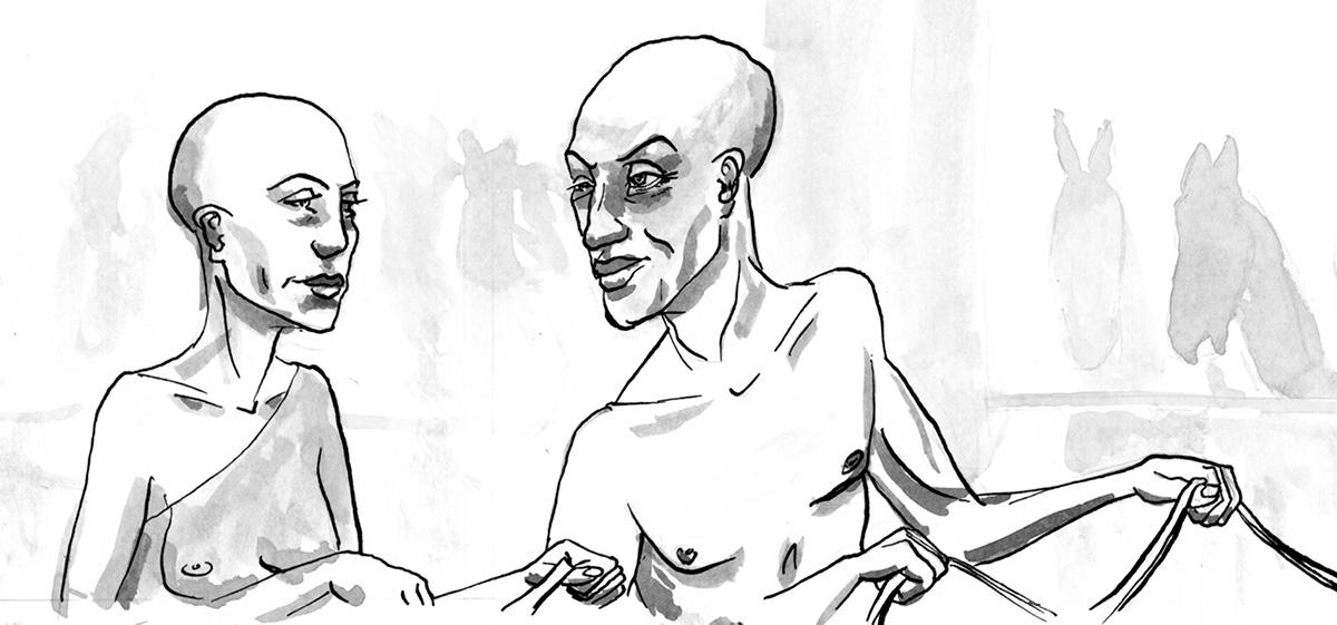 Eine Zeichung aus dem Comic, die Nofretete und Echnaton zeigt. t.